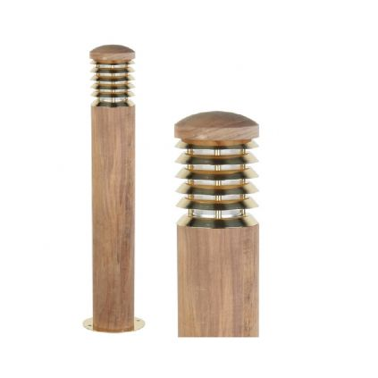 Tectona Teak Wood and Brass Bollard