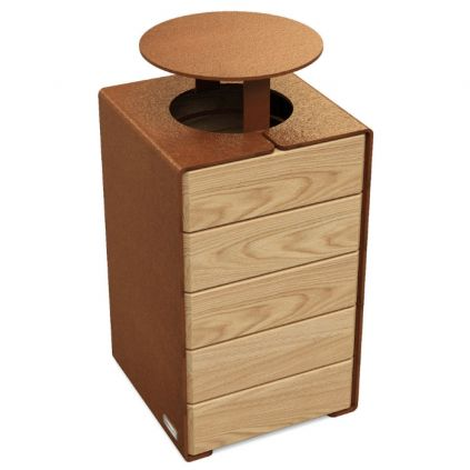 Primium® Design Litter Bin - Timber & Steel