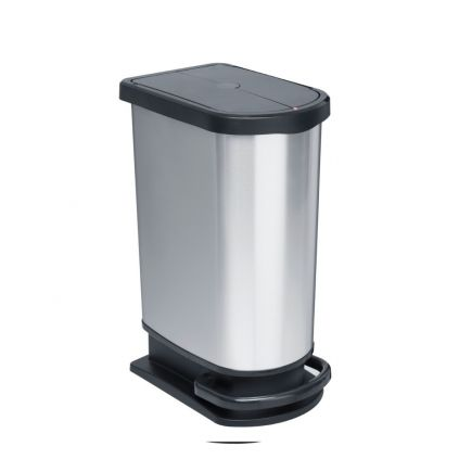 50 Litre Plastic Pedal Bin Metal Look Finish Butterfly Lid