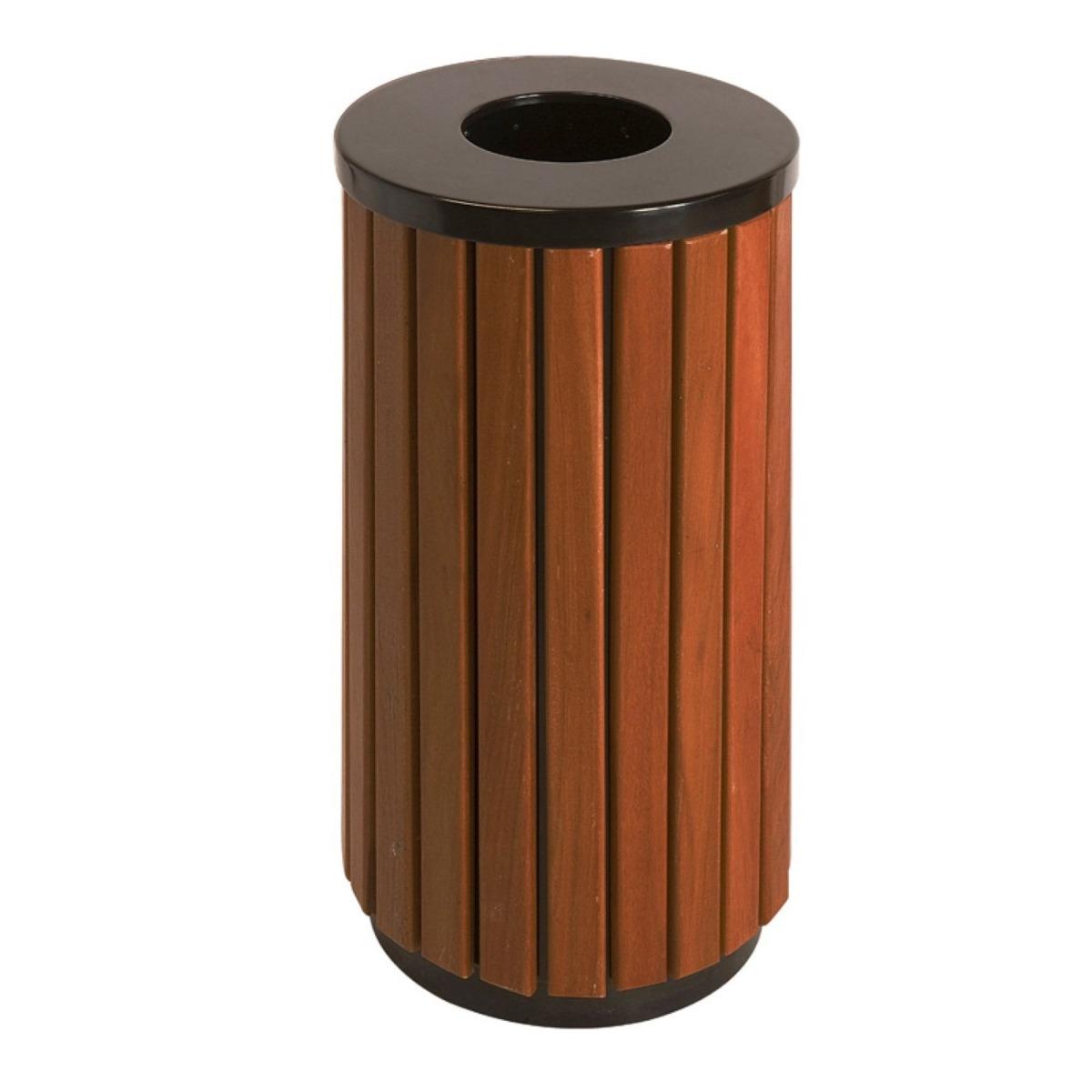 Open Top Wood Effect Waste Bin
