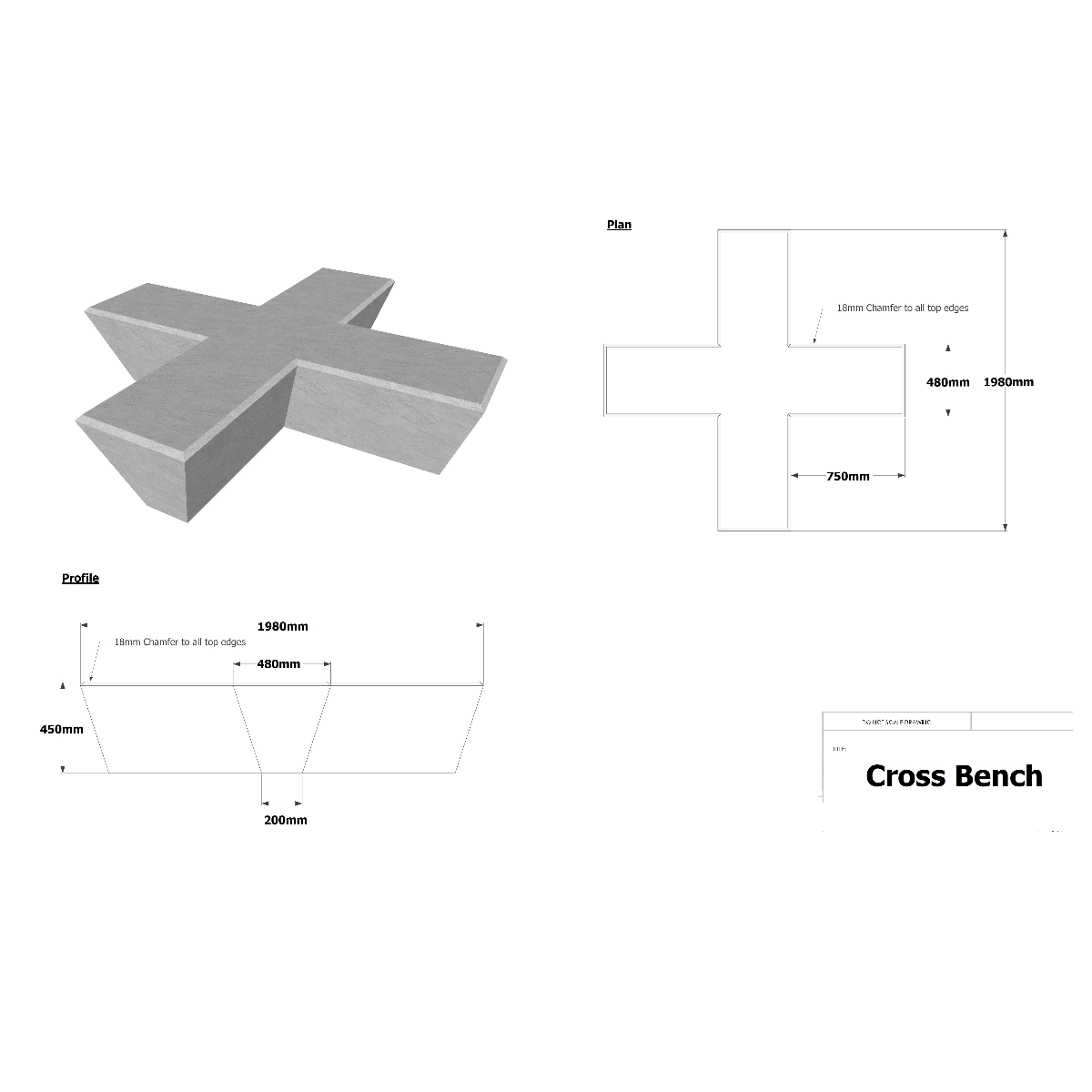 Cross Concrete Bench