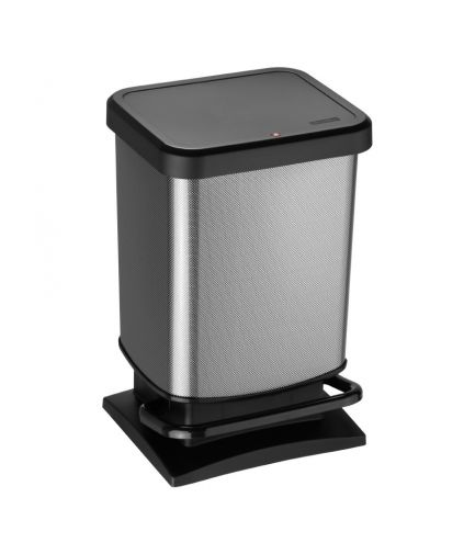 40 litre plastic pedal bin Metal Look finish