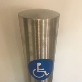 101mm Stainless Steel Bollard with Disabled Logo